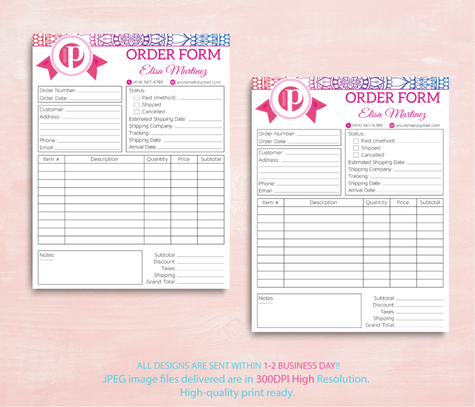 Perfectly Posh Order Form, Perfectly Posh Invoice, New Logo, Personalzed