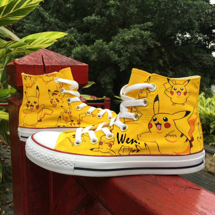 dd99a89a390197 Hand Painted Shoes Converse Pokemon Pikachu High Top Fashion Canvas  Sneakers Men