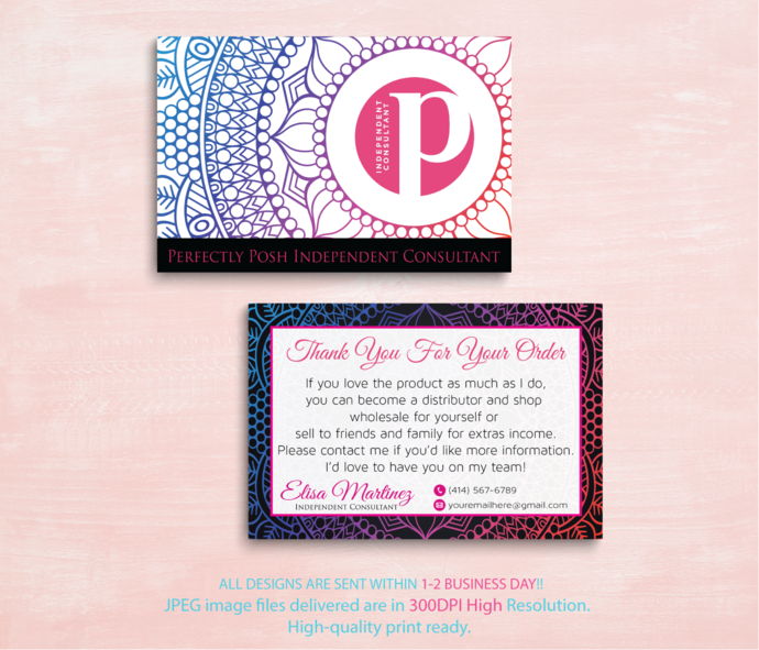 Personalized Perfectly Posh Thank Cards, Perfectly Posh Thank You Card,