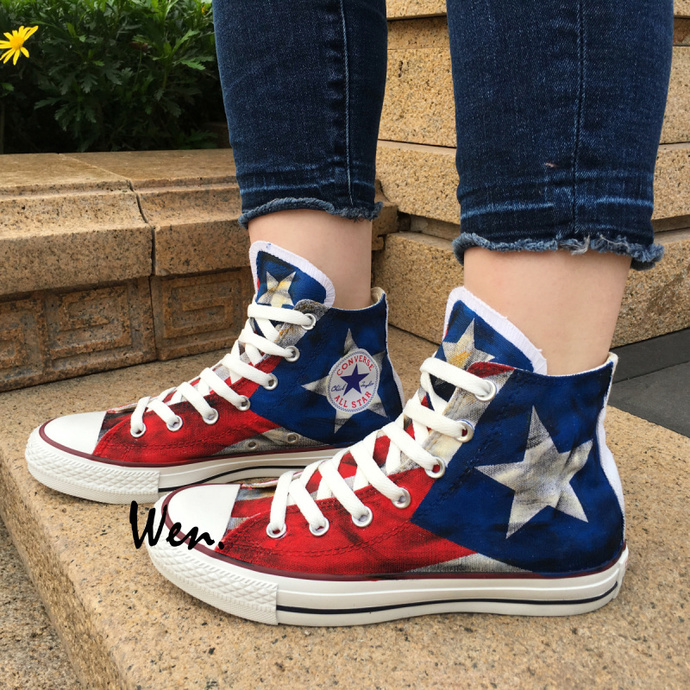 fe31fe34ad47 Puerto Rico Flag Converse Shoes Hand Painted Canvas Sneakers High Top  Fashion