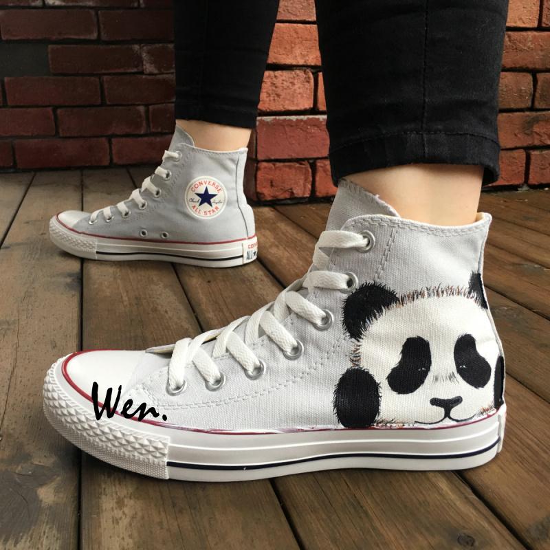 6a144b21b2cf5 Cute Panda Converse Shoes Custom Hand Painted Canvas Sneakers High Top  Fashion Sneakers Gifts Boys Girls