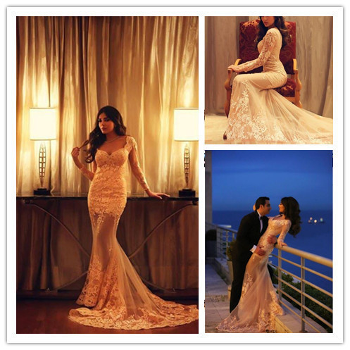 Champagne Prom Gown,Sexy Prom Dresses,Lace Evening Gowns,Mermaid Party