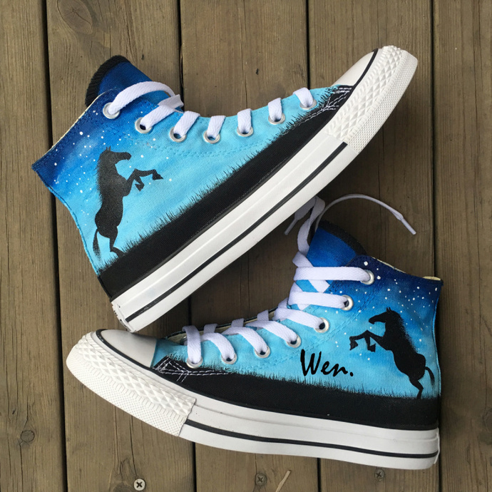 1fbfe75633 Custom Hand Painted Shoes Converse All Star Horse Under Night Sky High Top