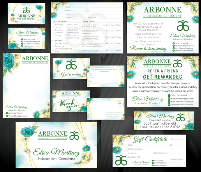 Arbonne Marketing Kit, Personalized Arbonne Marketing Bundle, Arbonne Consultant