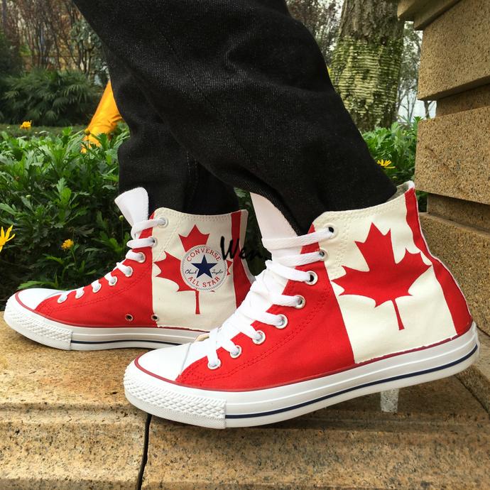 b24ffadb0bb5 Custom Design Canada Flag Maple Leaf Unisex Converse Chuck Taylor Hand  Painted