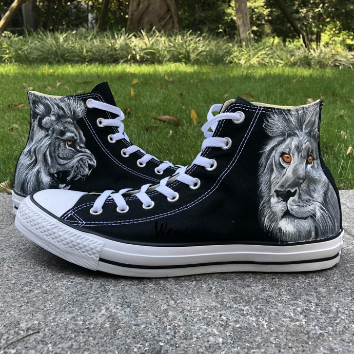 d3d29c9f4ea Custom Hand Painted Shoes Converse All Star Lion High Top Black Canvas  Sneakers