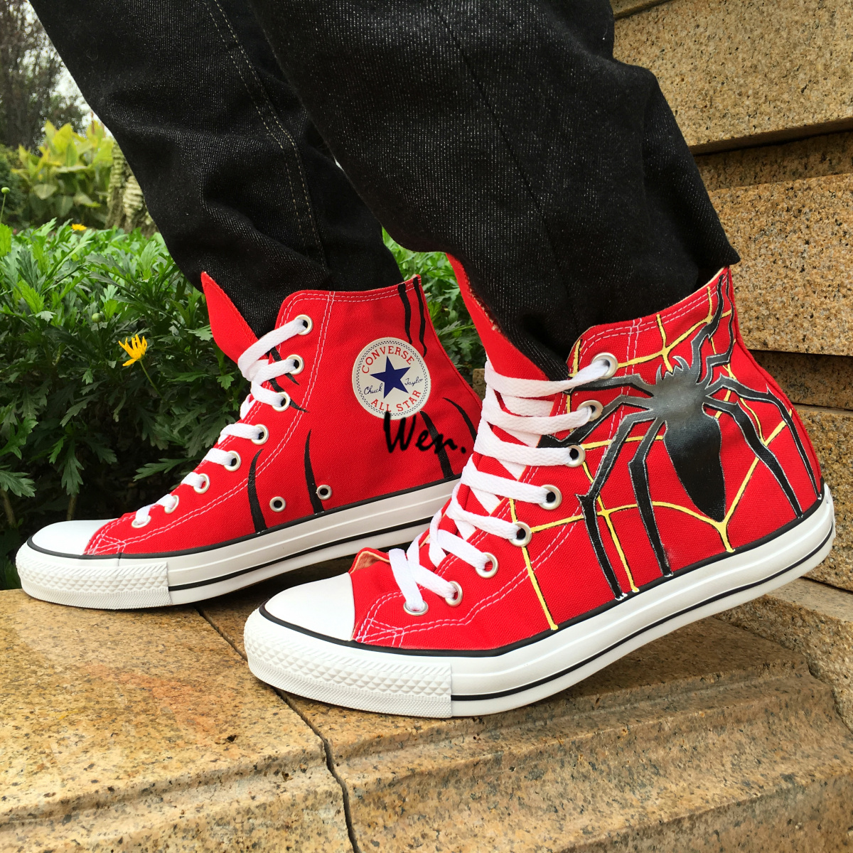 Custom Converse All Star Spider Red Canvas Sneakers Wen Hand Painted Shoes Men Women Unique Casual Shoes Christmas Gifts