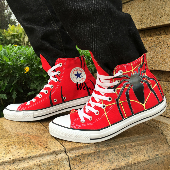 c7c26de5d73 Custom Converse All Star Spider Red Canvas Sneakers Wen Hand Painted Shoes  Men