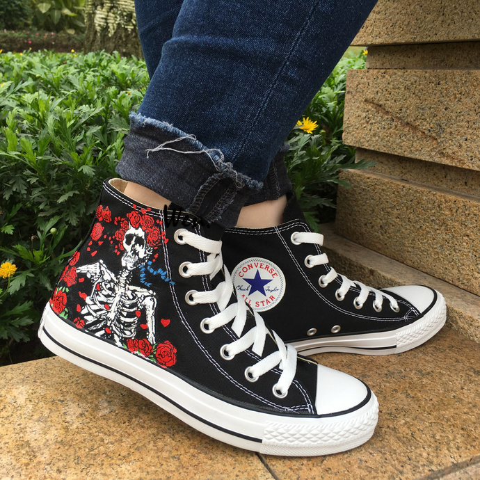 f739dd30e95c Rose Skull Design Hand Painted Black Canvas Shoes Converse All Star Grateful