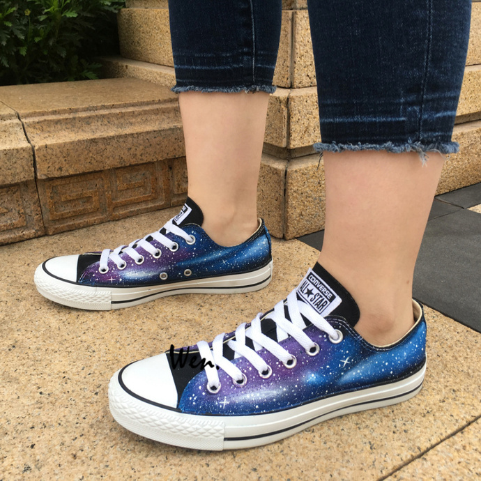 6b49cc81927e Galaxy Converse Shoes Wen Hand Painted Shoes Low Top Canvas Sneakers Design
