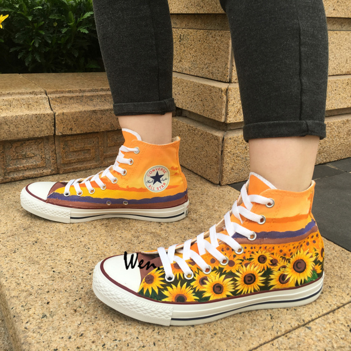 114c468c7b2 Converse Hand Painted Canvas Shoes Floral Original Design Sunflower Chuck  Taylor