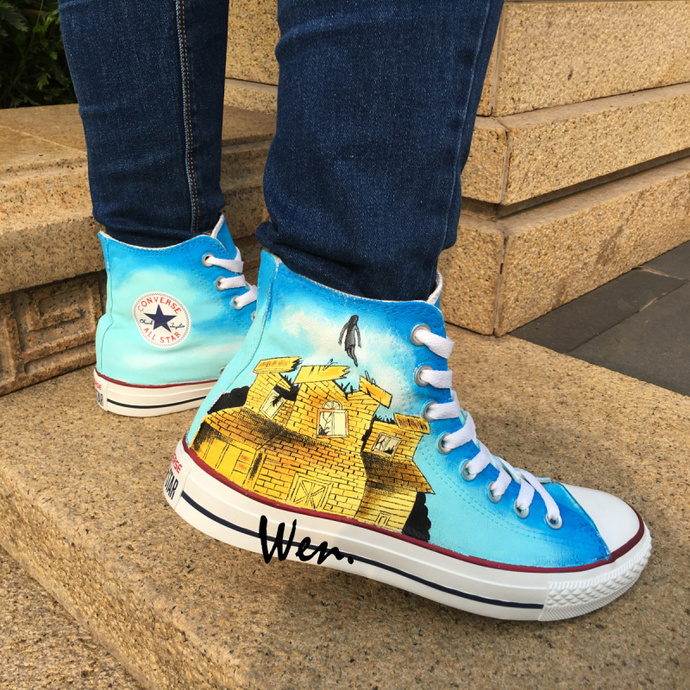af14bb3c4e19 Men Women All Star Canvas Sneakers Hand Painted Pierce the Veil Converse  Shoes