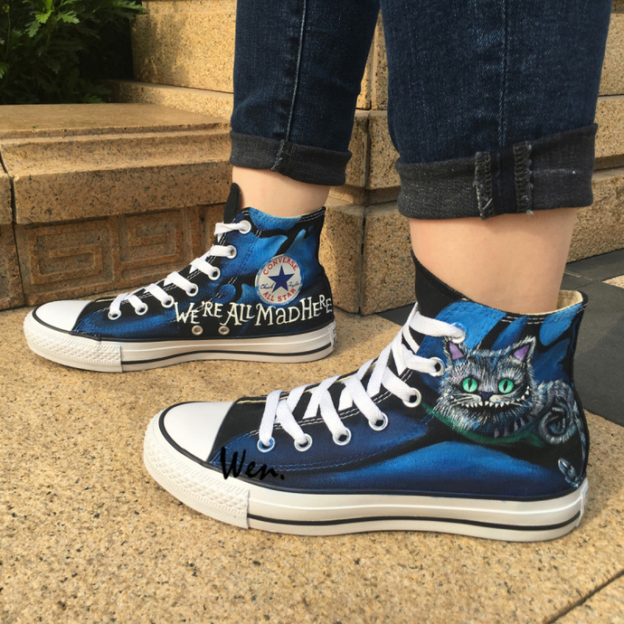 154f14dee4c Custom Design Converse Shoes Hand Painted Cheshire Cat Shoes Men Women  Canvas