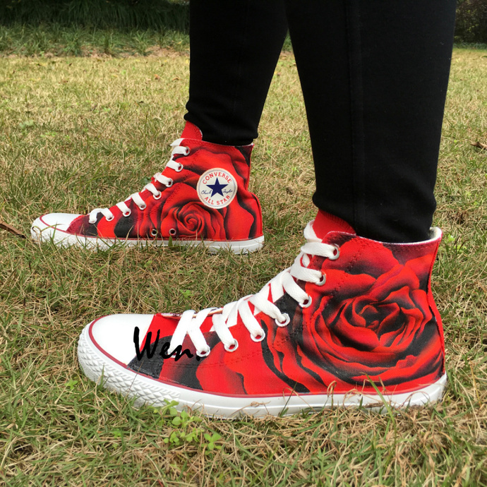 35b188272abd Original Design Full Red Rose Converse Chuck Taylor Shoes Hand Painted  Canvas