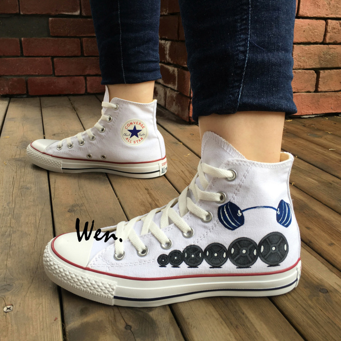 d357ee4a7d30 Custom Design Wen Hand Painted Shoes Converse Barbell Weight Lifting High  Top