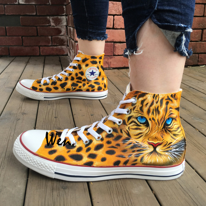 788f3517407790 Converse Mens Shoes Hand Painted Leopard Animal Design Canvas Sneakers for  Women