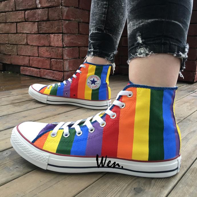 dcdb57a88872 Rainbow Color Original Design Converse Chuck Taylor Shoes Hand Painted  Canvas