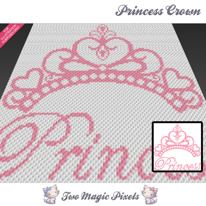 Princess Crown Crochet Blanket Pattern By Twomagicpixels On Zibbet
