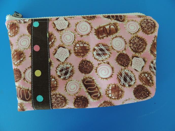 Bon Bon Chocolates Zipper Pouch for phone or makeup