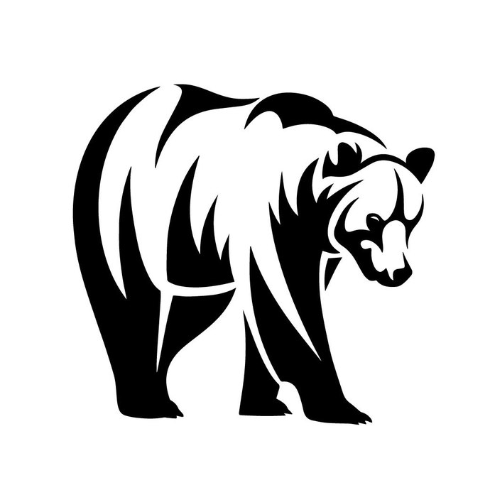 Grizzly Bear 01 graphics design SVG DXF PNG Vector Art Clipart instant download