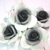 "5pcs Flatback Three Tone Cabochon Roses Flowers - 1"" Grey/Black stl"