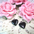 "2pcs Metal Glossy Heart Charm Pendant - 5/8"" Black stl"