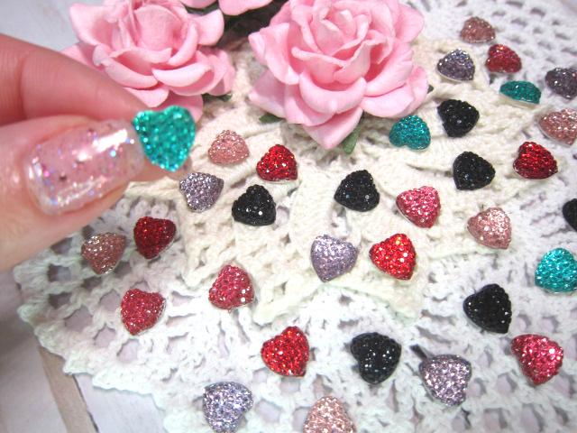 "5pc Flatback Jewel Tone Hearts - 3/8"" Peachy Pink, Pink, Lavender, Black, Red,"