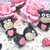 "Cute Funny Little Cow Embellishment Clay Miniature - 1 1/4"" Black with Pink"
