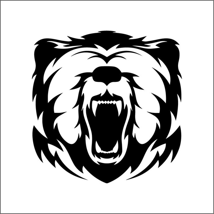 Grizzly Bear 02 graphics design SVG DXF PNG Vector Art Clipart instant download