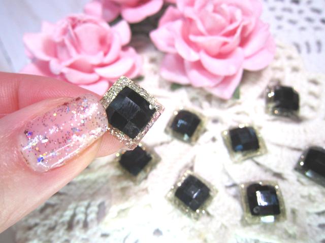 "10pc Flatback Diamond Shape Buttons - 7/16"" Black stl"