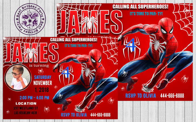 Spiderman Birthday Invitations Invitation Superheroe