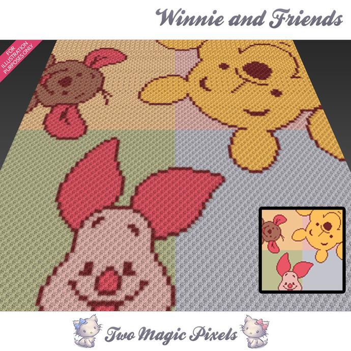 Winnie and Friends crochet blanket pattern; c2c, cross stitch graph; pdf