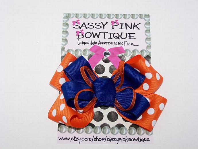 Florida Gators Boutique Bow, Orange and Blue, Baby, Toddler, Teen or Adult