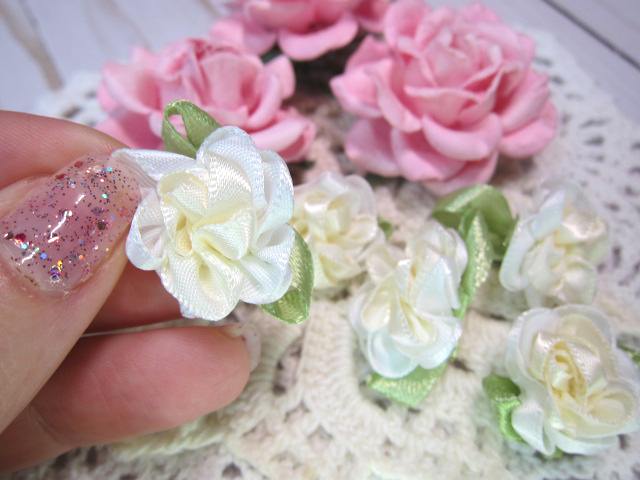 """5pc Two Tone Satin Ribbon Flowers - 1"""" Shabby Pink, Dusty Pink, Creamy White stl"""