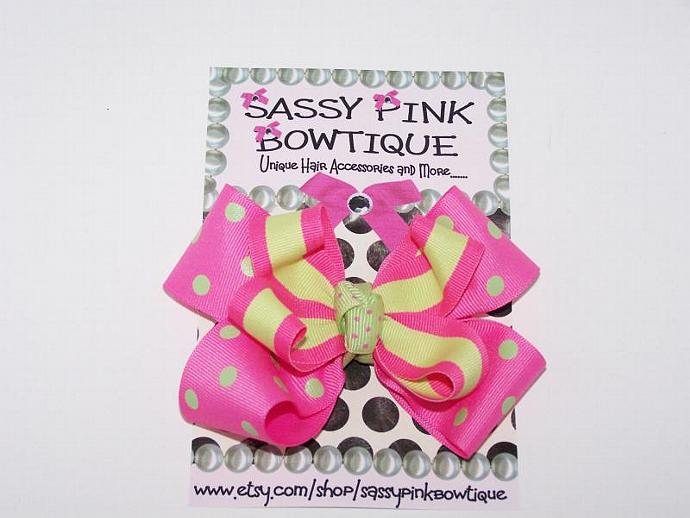 Lime Green and Hot Pink Boutique Bow, Baby, Toddler, Teen or Adult