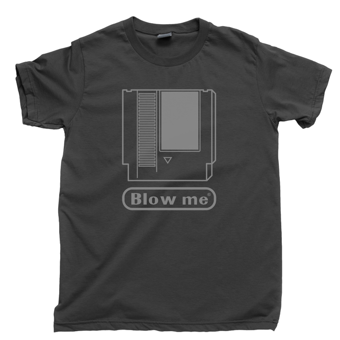 Blow Me Men's T Shirt, 80s 90s Retro Cartridge Video Game Console Systems Gamer