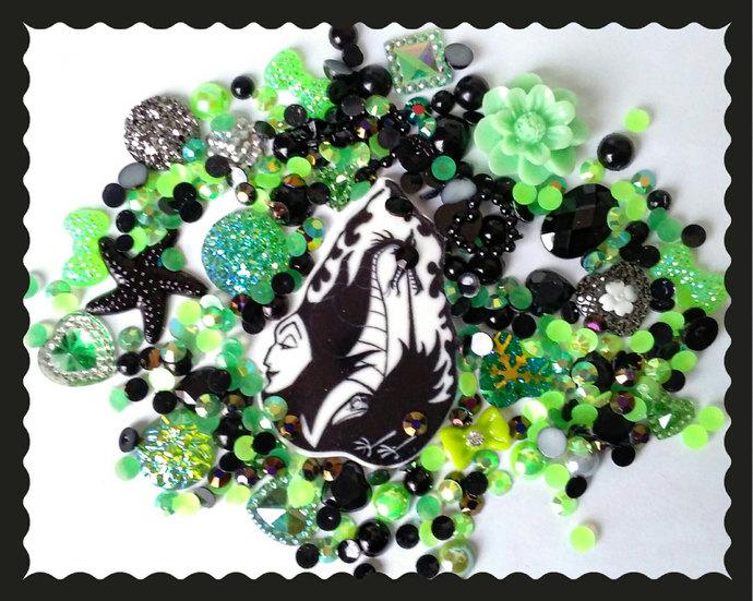 Maleficent themed decoden kit. Planner resin, dragon, dark disney, villain,