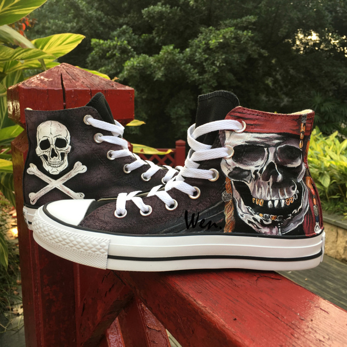 a3b184cf78ef Skull Pirate Converse All Star Wen Hand Painted Shoes Black High Top Fashion