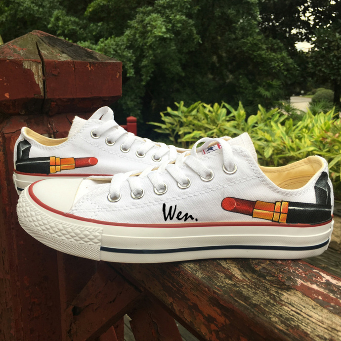 Lipstick Hand Painted Canvas Shoes Custom Design Low Top Converse Chuck Taylor