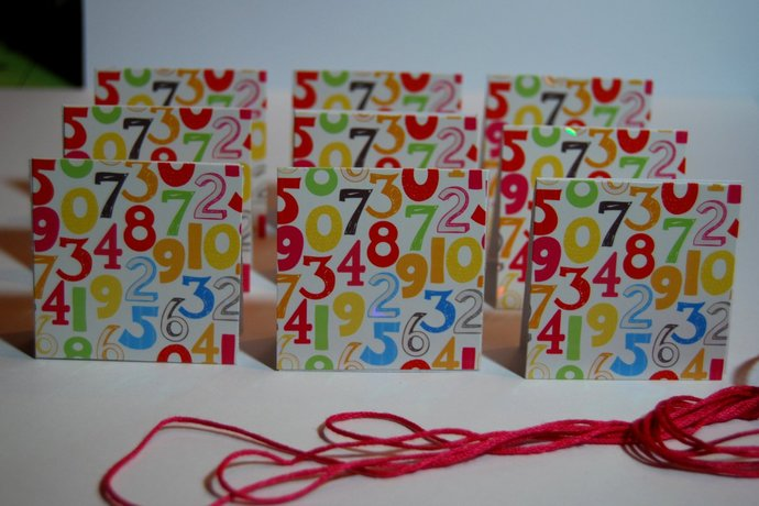 Birthday 2 in x 2 in Mini Cards or Gift Tags (9) and matching red Thread,