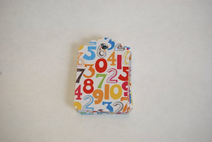 Handmade Birthday Tags - 18 Tags w Blue Red Green Yellow Orange Age Numbers -
