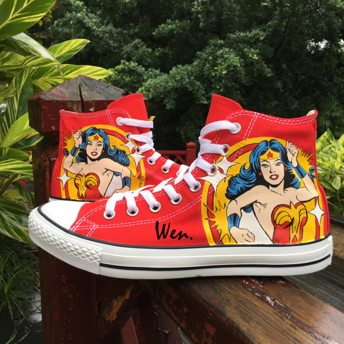 03aceb04c105 Red High Top Converse Chuck Taylor All Star Custom Design Wonder Woman Hand