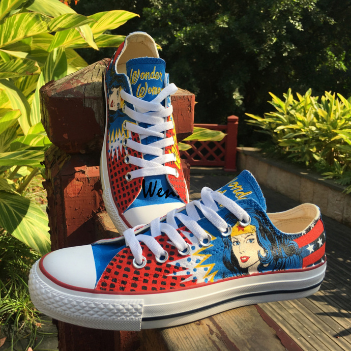 848549f47fef Design Low Top Hand Painted Shoes Wonder Woman Converse Chuck Taylor Men  Women