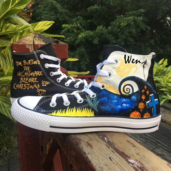 Unisex Sneakers Hand Painted Shoes Nightmare Before Christmas Converse All Star