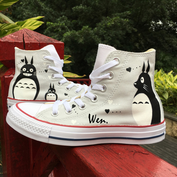 ac13cbad4151 ... Canvas Sneakers High Top Skateboarding Shoes. by Wenartwork. Men Women  Converse Chuck Taylor Design Anime My Neighbor Totoro Hand Painted