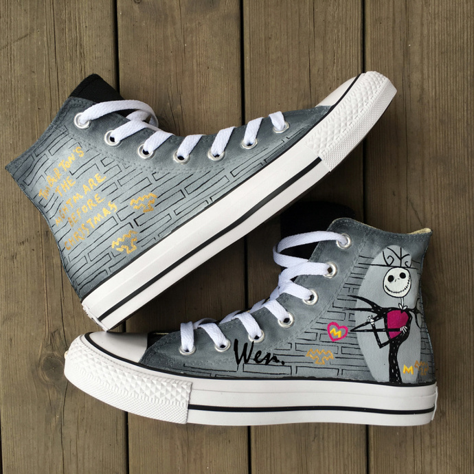 Unisex Converse Chuck Taylor Shoes Hand Painted Nightmare Before Christmas Jack Skellington High Top Canvas Sneakers