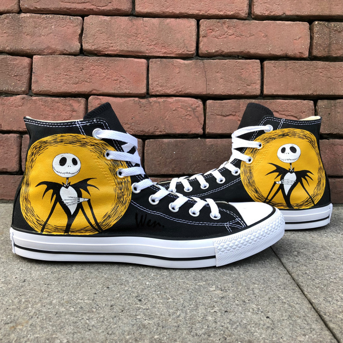 ... Nightmare Before Christmas Shoes for Men Women. by Wenartwork. Classic  Black Converse Chuck Taylor Hand Painted Jack Skellington Canvas ce5481ac8418