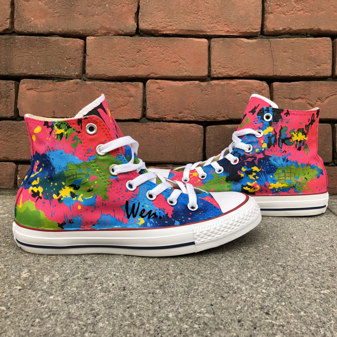 Original Design Hand Painted Shoes Splashed Ink Colorful Converse Chuck Taylor