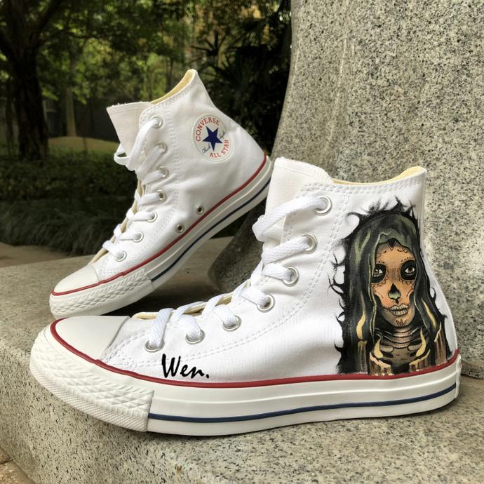 cb418bc906 Custom Design Hand Painted Shoes White Canvas Skull Girl Graffiti Shoes  Converse