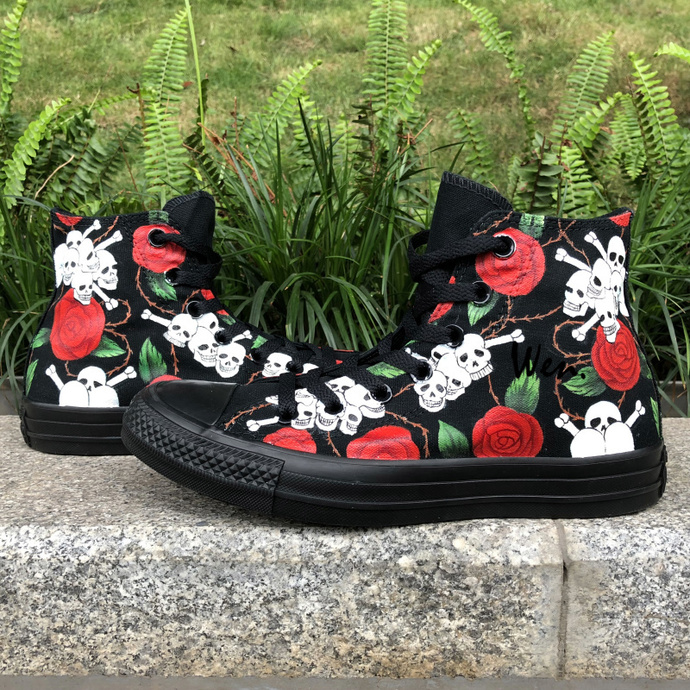 3d73c1e2373f Wen Custom Hand Painted Shoes Converse Skulls Roses High Top All Black  Canvas